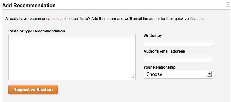 Add Trulia Recommendation to Create Your Trulia Profile