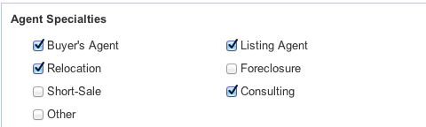 Agent Specialties Choices for Zillow Real Estate Professional Agents