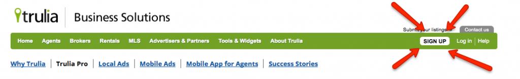 Click Sign Up on Trulia Professionals to Create Your Trulia Profile