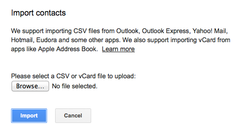 Import Contacts from CSV files and VCards for Google's Gmail