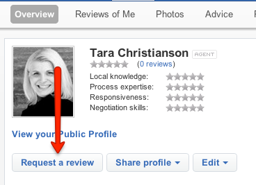 Request a Review on Zillow to Finish Creating your Zillow Professional Real Estate Agent Profile