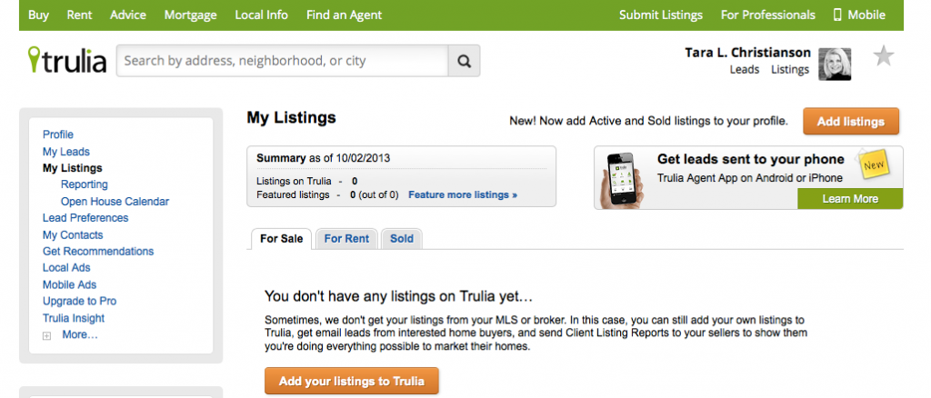 Trulia Main Page for Real Estate Professionals