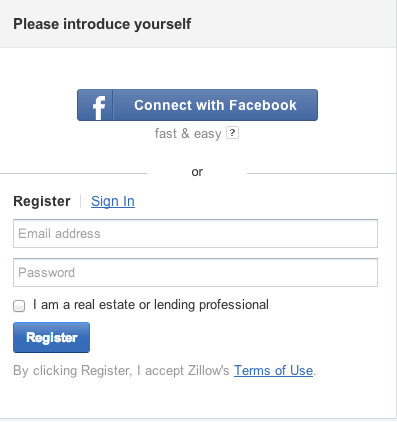 Zillow Registration Page to Create a Zillow Profile