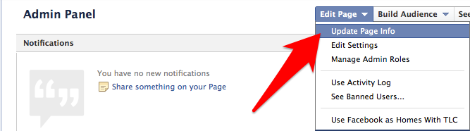 how to change page info on facebook