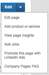 LinkedIn Options for Company Page