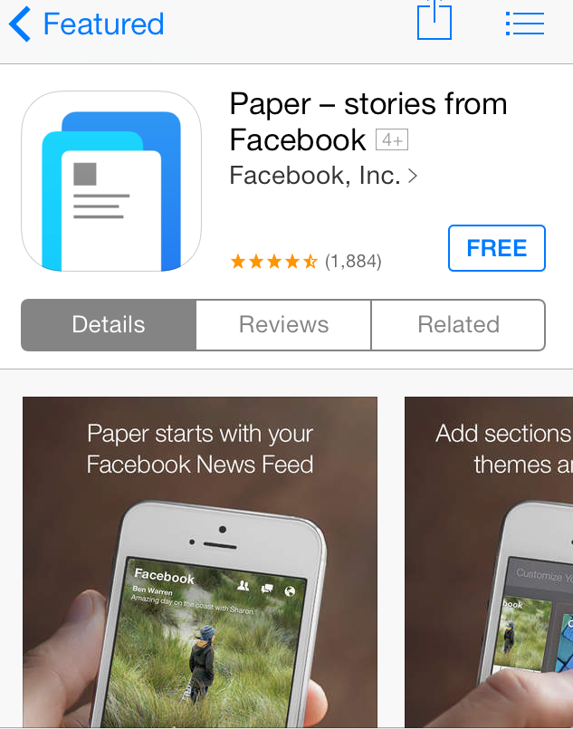 Facebook Paper App Logo Facebook Paper in Apple App