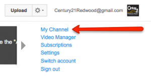 Click on My Channel when Logged Into YouTube
